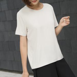 Tシャツ レディース 大人 40代 50代 60代 ファッション おしゃれ 女性 上品 黒 茶色 ベージュ グレー トップス 無地 半袖 きれいめ 春夏 ミセス alice-style