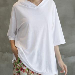 Tシャツ レディース 40代 50代 60代 ファッション 女性 上品  黒  白  茶色  グレー トップス フード パーカー 無地 ゆったり 春夏 ミセス|alice-style