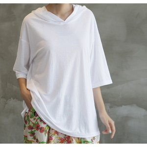 Tシャツ レディース 40代 50代 60代 ファッション 女性 上品  黒  白  茶色  グレー トップス フード パーカー 無地 ゆったり 春夏 ミセス|alice-style|11