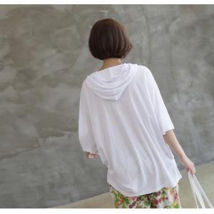 Tシャツ レディース 40代 50代 60代 ファッション 女性 上品  黒  白  茶色  グレー トップス フード パーカー 無地 ゆったり 春夏 ミセス|alice-style|12