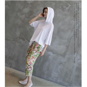 Tシャツ レディース 40代 50代 60代 ファッション 女性 上品  黒  白  茶色  グレー トップス フード パーカー 無地 ゆったり 春夏 ミセス|alice-style|13