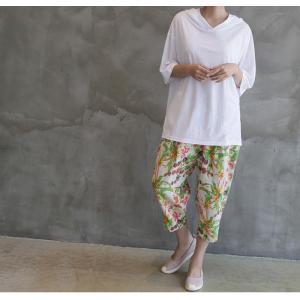 Tシャツ レディース 40代 50代 60代 ファッション 女性 上品  黒  白  茶色  グレー トップス フード パーカー 無地 ゆったり 春夏 ミセス|alice-style|18