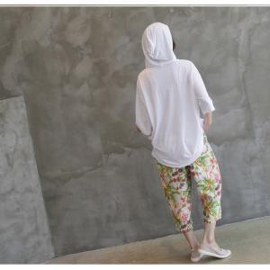 Tシャツ レディース 40代 50代 60代 ファッション 女性 上品  黒  白  茶色  グレー トップス フード パーカー 無地 ゆったり 春夏 ミセス|alice-style|04