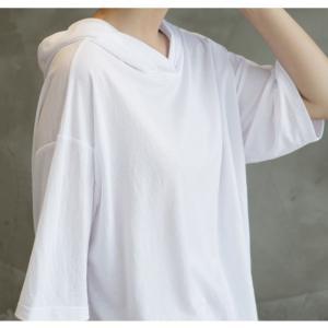 Tシャツ レディース 40代 50代 60代 ファッション 女性 上品  黒  白  茶色  グレー トップス フード パーカー 無地 ゆったり 春夏 ミセス|alice-style|06
