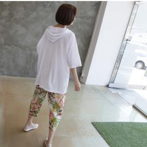 Tシャツ レディース 40代 50代 60代 ファッション 女性 上品  黒  白  茶色  グレー トップス フード パーカー 無地 ゆったり 春夏 ミセス|alice-style|07