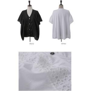 カーディガン レディース 40代 50代 60代 ファッション 女性 上品  黒  白 半袖 ハーフ丈 レース 春夏 ミセス|alice-style|02