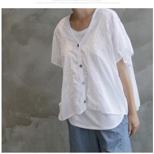 カーディガン レディース 40代 50代 60代 ファッション 女性 上品  黒  白 半袖 ハーフ丈 レース 春夏 ミセス|alice-style|16