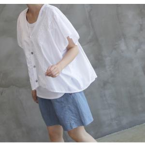 カーディガン レディース 40代 50代 60代 ファッション 女性 上品  黒  白 半袖 ハーフ丈 レース 春夏 ミセス|alice-style|03