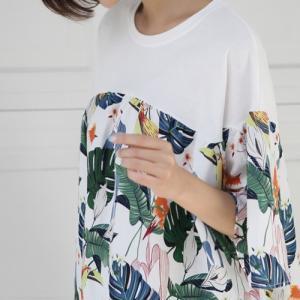 Tシャツ レディース 大人 40代 50代 60代 ファッション 女性 上品 白 ベージュ トップス 半袖 切り替え ボタニカル柄 春夏 ミセス|alice-style