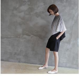 ブラウス レディース 40代 50代 60代 ファッション おしゃれ 女性 上品  黒 7分袖 アンバランス 幾何学模様 春夏 ミセス|alice-style|13