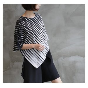 ブラウス レディース 40代 50代 60代 ファッション おしゃれ 女性 上品  黒 7分袖 アンバランス 幾何学模様 春夏 ミセス|alice-style|14