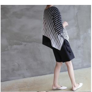 ブラウス レディース 40代 50代 60代 ファッション おしゃれ 女性 上品  黒 7分袖 アンバランス 幾何学模様 春夏 ミセス|alice-style|15