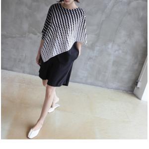 ブラウス レディース 40代 50代 60代 ファッション おしゃれ 女性 上品  黒 7分袖 アンバランス 幾何学模様 春夏 ミセス|alice-style|16