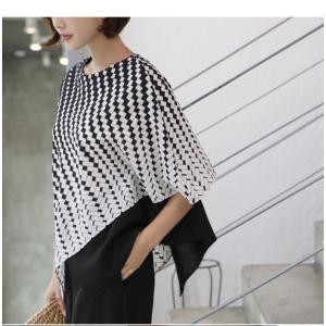 ブラウス レディース 40代 50代 60代 ファッション おしゃれ 女性 上品  黒 7分袖 アンバランス 幾何学模様 春夏 ミセス|alice-style|19