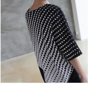 ブラウス レディース 40代 50代 60代 ファッション おしゃれ 女性 上品  黒 7分袖 アンバランス 幾何学模様 春夏 ミセス|alice-style|20