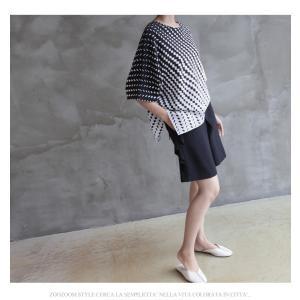 ブラウス レディース 40代 50代 60代 ファッション おしゃれ 女性 上品  黒 7分袖 アンバランス 幾何学模様 春夏 ミセス|alice-style|03