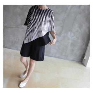 ブラウス レディース 40代 50代 60代 ファッション おしゃれ 女性 上品  黒 7分袖 アンバランス 幾何学模様 春夏 ミセス|alice-style|21
