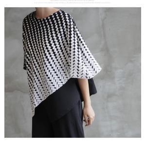 ブラウス レディース 40代 50代 60代 ファッション おしゃれ 女性 上品  黒 7分袖 アンバランス 幾何学模様 春夏 ミセス|alice-style|04