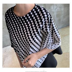 ブラウス レディース 40代 50代 60代 ファッション おしゃれ 女性 上品  黒 7分袖 アンバランス 幾何学模様 春夏 ミセス|alice-style|10