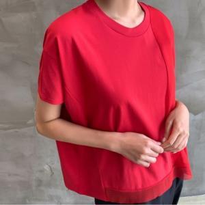 トップス レディース 大人 40代 50代 60代 ファッション おしゃれ 女性 上品 黒 白 赤 半袖 Tシャツ 無地 春夏 ミセス|alice-style