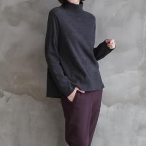 ニット ウール50% レディース 40代 50代 60代 ファッション おしゃれ 女性 上品 黒 茶色 タートルニット長袖 無地 後切替 冬 ミセス|alice-style