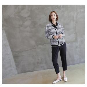 カーディガン レディース 大人 40代 50代 60代 ファッション おしゃれ 女性 上品 白 柄 ハーフ丈 きれいめ 秋 ミセス alice-style 09