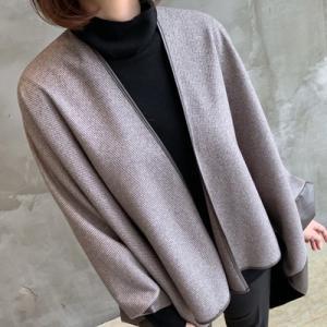 ジャケット レディース 40代 50代 60代 ファッション おしゃれ 女性 上品  茶色 異素材 切り替え ドルマン 体形カバー ウール混 秋 ミセス|alice-style