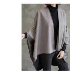 ジャケット レディース 40代 50代 60代 ファッション おしゃれ 女性 上品  茶色 異素材 切り替え ドルマン 体形カバー ウール混 秋 ミセス alice-style 12