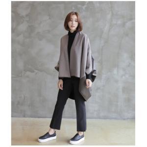 ジャケット レディース 40代 50代 60代 ファッション おしゃれ 女性 上品  茶色 異素材 切り替え ドルマン 体形カバー ウール混 秋 ミセス alice-style 05