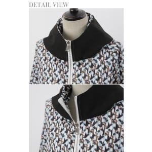 ショートジャンパー アウター レディース 40代 50代 60代 ファッション おしゃれ 女性 上品 黒 ペンギンプリント 柄 冬 ミセス|alice-style|14