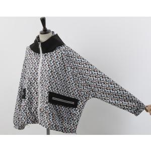 ショートジャンパー アウター レディース 40代 50代 60代 ファッション おしゃれ 女性 上品 黒 ペンギンプリント 柄 冬 ミセス|alice-style|15