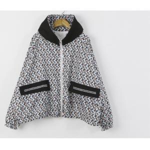 ショートジャンパー アウター レディース 40代 50代 60代 ファッション おしゃれ 女性 上品 黒 ペンギンプリント 柄 冬 ミセス|alice-style|19
