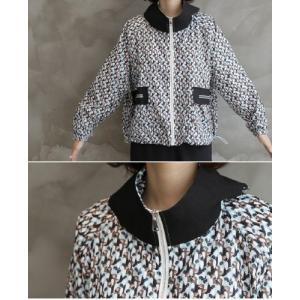 ショートジャンパー アウター レディース 40代 50代 60代 ファッション おしゃれ 女性 上品 黒 ペンギンプリント 柄 冬 ミセス|alice-style|05