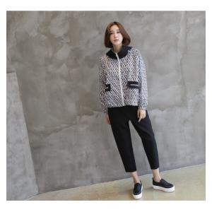 ショートジャンパー アウター レディース 40代 50代 60代 ファッション おしゃれ 女性 上品 黒 ペンギンプリント 柄 冬 ミセス|alice-style|09