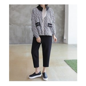ショートジャンパー アウター レディース 40代 50代 60代 ファッション おしゃれ 女性 上品 黒 ペンギンプリント 柄 冬 ミセス|alice-style|10
