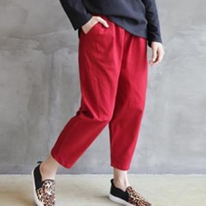 バギーパンツ レディース 40代 50代 60代 ファッション おしゃれ 女性 上品  黒  赤 ウエストゴム 秋 ミセス|alice-style