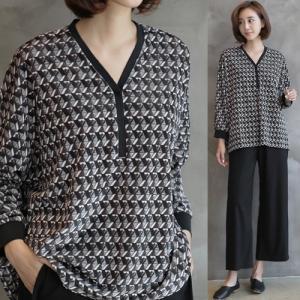 ブラウス レディース 40代 50代 60代 ファッション おしゃれ 女性 上品  黒 ゆったり 体形カバー 長袖 幾何学模様 トップス 秋 ミセス|alice-style