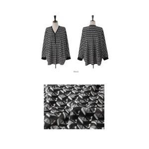 ブラウス レディース 40代 50代 60代 ファッション おしゃれ 女性 上品  黒 ゆったり 体形カバー 長袖 幾何学模様 トップス 秋 ミセス alice-style 02