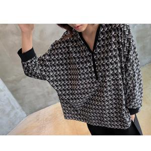 ブラウス レディース 40代 50代 60代 ファッション おしゃれ 女性 上品  黒 ゆったり 体形カバー 長袖 幾何学模様 トップス 秋 ミセス alice-style 15
