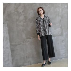ブラウス レディース 40代 50代 60代 ファッション おしゃれ 女性 上品  黒 ゆったり 体形カバー 長袖 幾何学模様 トップス 秋 ミセス alice-style 16