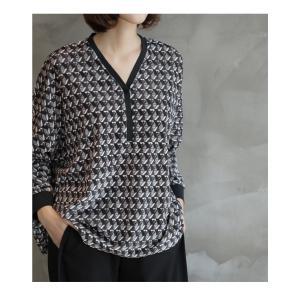 ブラウス レディース 40代 50代 60代 ファッション おしゃれ 女性 上品  黒 ゆったり 体形カバー 長袖 幾何学模様 トップス 秋 ミセス alice-style 17