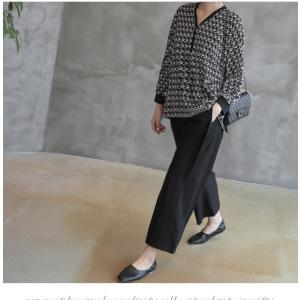 ブラウス レディース 40代 50代 60代 ファッション おしゃれ 女性 上品  黒 ゆったり 体形カバー 長袖 幾何学模様 トップス 秋 ミセス alice-style 18