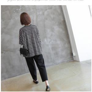 ブラウス レディース 40代 50代 60代 ファッション おしゃれ 女性 上品  黒 ゆったり 体形カバー 長袖 幾何学模様 トップス 秋 ミセス alice-style 19