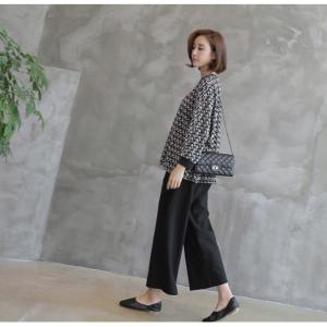 ブラウス レディース 40代 50代 60代 ファッション おしゃれ 女性 上品  黒 ゆったり 体形カバー 長袖 幾何学模様 トップス 秋 ミセス alice-style 09
