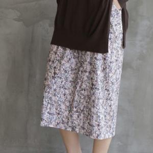 スカート レディース 40代 50代 60代 ファッション おしゃれ 女性 上品  ベージュ 膝丈 小花柄 秋 ミセス|alice-style
