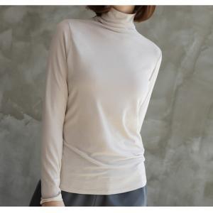Tシャツ レディース 40代 50代 60代 ファッション おしゃれ 女性 上品  黒  茶色  ベージュ トップス 無地 長袖 タートルネック 秋 ミセス|alice-style