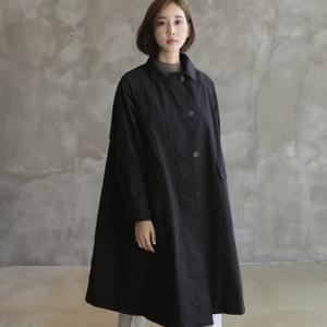 コート レディース 40代 50代 60代 ファッション おしゃれ 女性 上品  黒 ステンカラーコート ロング丈 ゆったり 体形カバー 秋 ミセス alice-style