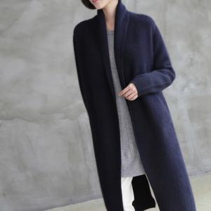 カーディガン レディース 40代 50代 60代 ファッション おしゃれ 女性 上品  黒  紺 青 ロング丈 カシミア100% きれいめ 秋 ミセス alice-style