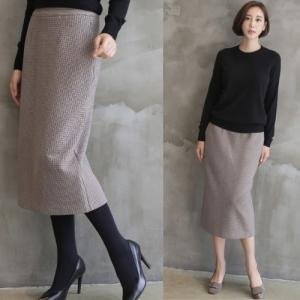 スカート チェック レディース 40代 50代 60代 ファッション おしゃれ 女性 上品 ベージュ ロング タイト スカート後スリット 冬 ミセス|alice-style