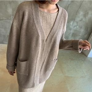 カーディガン レディース 40代 50代 60代 ファッション おしゃれ 女性 上品  ベージュ  グレー ウール50% ハーフ丈 ゆったり 秋 ミセス|alice-style
